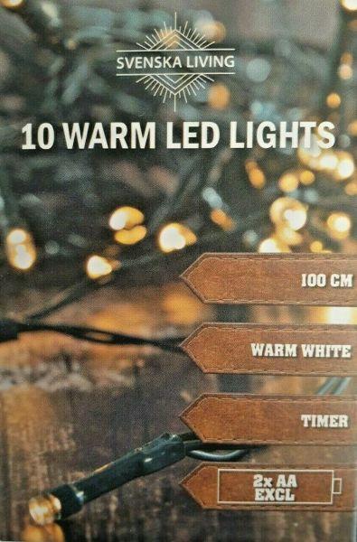LED - Lichterkette 10 Lämpchen mit Timer warmweiß grünes Kabel- Batteriebetrieb