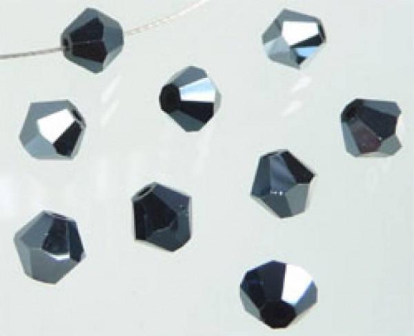 50 Kristallperlen 4mm bicone schwarz 4795