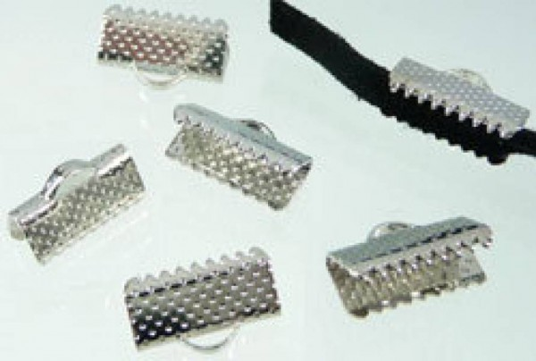 10 Bandklemmen 13mm silber/platin 05631