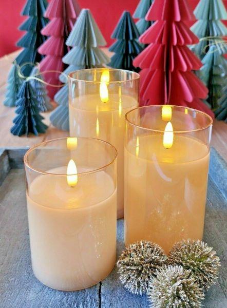 3er Set LED Kerze Timer im Glas champagner 10cm, 12.5cm und 15cm x 7,5cm