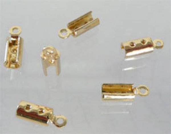 20 Lederbandkäppchen gold 10x3,3mm 10199