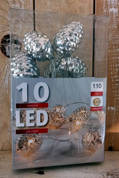 10er LED Zapfen Lichterkette silber Batteriebetrieb