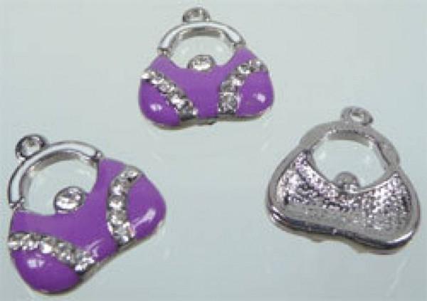1 Anhänger Charms Tasche lila silber Metall 01476