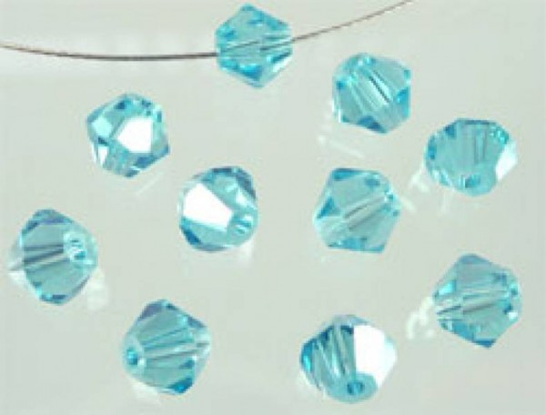 50 Kristallperlen 4mm bicone aqua 4794