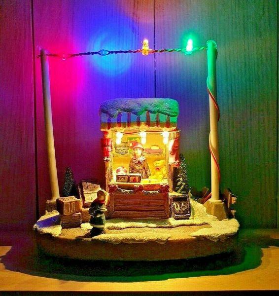 LED Weihnachtsdorf beleuchtet Batterie Weihnachten Marktstand Winterdorf Modell 2