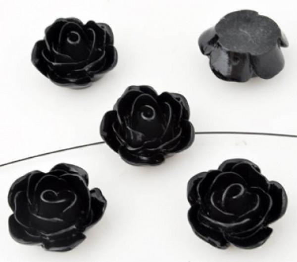 1 Rose 23x11mm schwarz Kunststoff 09925