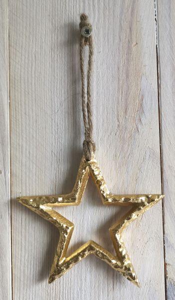 1 Deko-Stern gold 9cm Metall zum Aufhängen