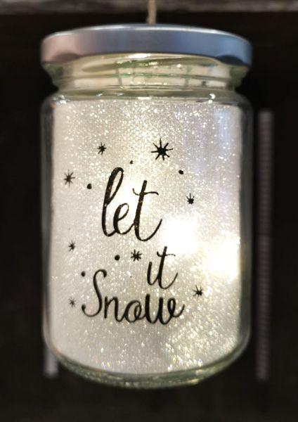 LED Glas zum Aufhängen Drahtlichterkette Glitzer Let it snow