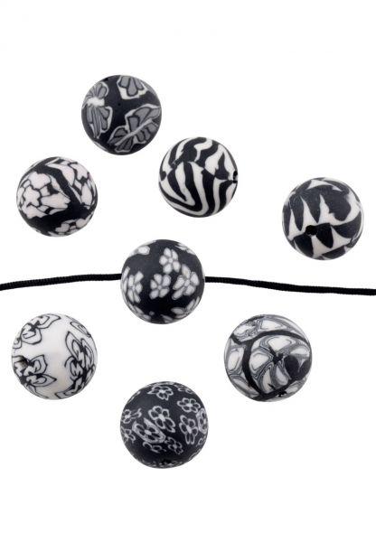 16 Fimo Perlen Mix 12mm Kunststoff schwarz weiß Muster 19520