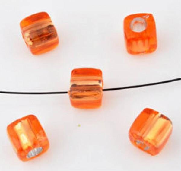 20 Kunststoffperlen orange 7mm Kubus mit Silberfolie 09879