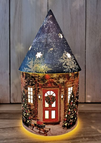 1 LED Winter Deko-Haus aus Papier Batteriebetrieb blaues Dach
