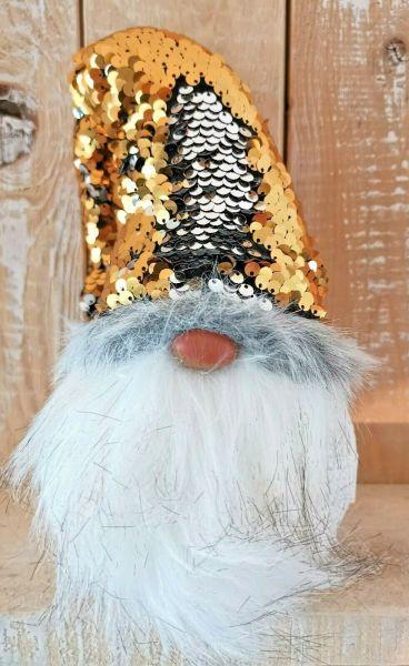 Weihnachts Wichtel mit Wendepailletten gold