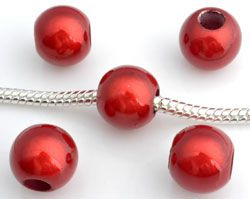 5 Miracle Beads 10mm Kunststoff rot 10287