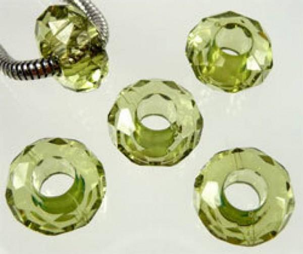 5 Kristall Beads Kunststoff olivgrün Perle 06751