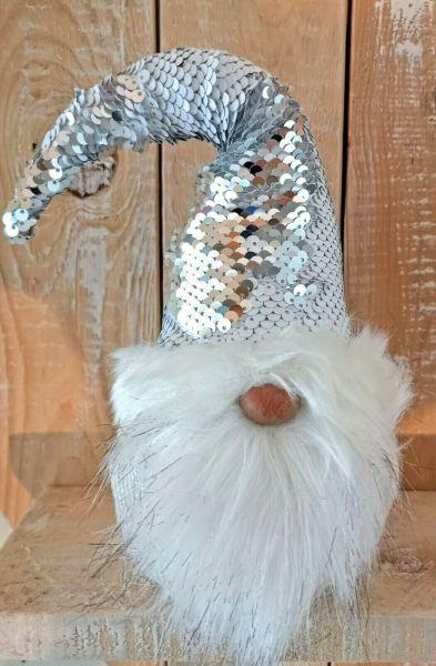 Weihnachts Wichtel mit Wendepailletten silber