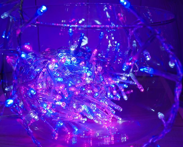 400er Cluster LED Lichterkette rosa blau weiß mit Timer