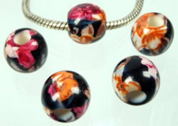 1 Bead Kunststoff Perle14mm schwarz gemustert 3616