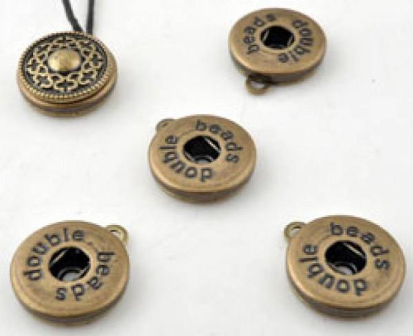 1 Anhänger für Double Beads Click Druckknopf altgold 13199