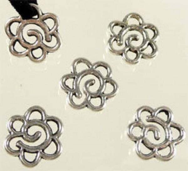 10 Metallperlen Blume flach 15mm silber/platin 07738