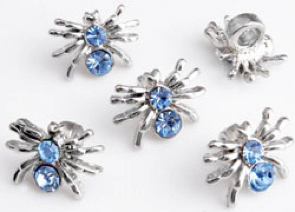 1 Bead Spinne Metall Strass blau 10326