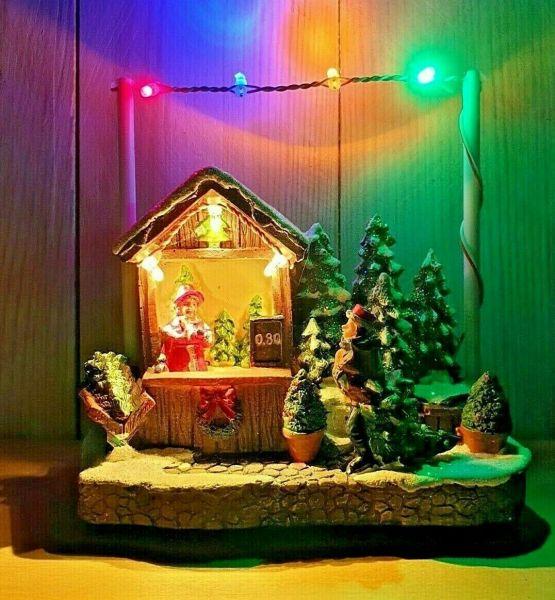 LED Weihnachtsdorf beleuchtet Batterie Weihnachten Marktstand Winterdorf Modell 3