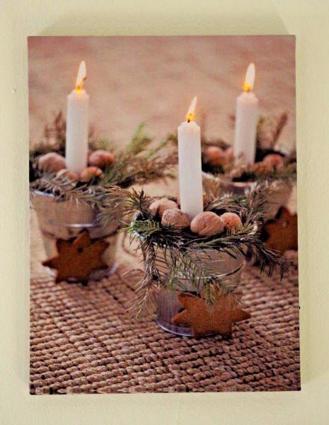 """LED Bild """" Kerzen Natur """""""