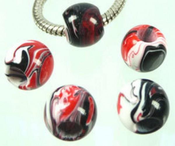 1 Bead Kunststoff 12mm rot schwarz weiss 03621