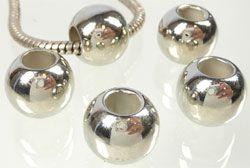 5 Perlen Kunststoff 13mm Beads silber 03875