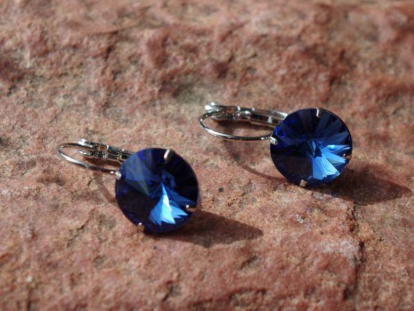 1 Paar Klapp Ohrhaken blau Strass Stein 19x12mm silber 01323