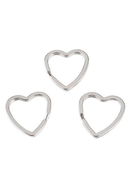 1 Schlüsselring Herz 32mm silber/platin Metall 23121