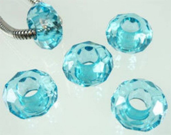 5 Kristall Beads Kunststoff türkis Perle 06753