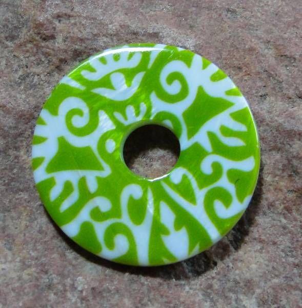 Ringscheibe Perlmutt grün weiß