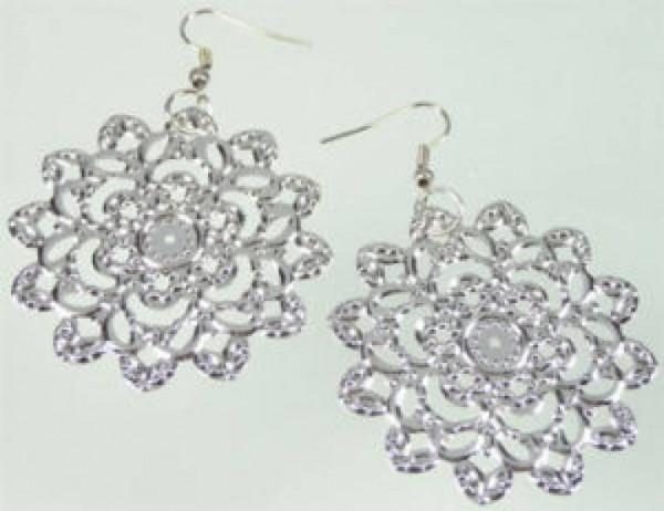 1 Paar Ohrringe Blume hauchdünn Metall 45mm 06097