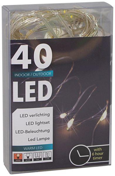 40er LED Draht-Lichterkette mit Timer für außen und innen batteriebetrieben warmweiß