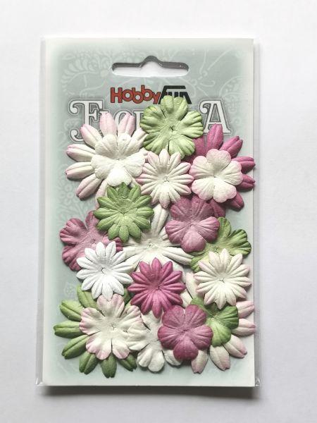 20 Papierblüten Mix III 2-4cm rosa weiß grün