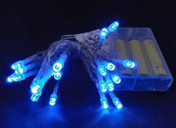 LED Lichterkette 20 Lämpchen blau Batteriebetrieb transparentes Kabel
