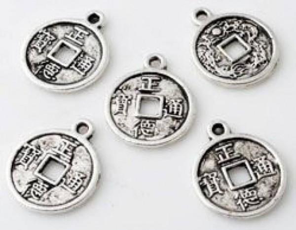 1 Anhänger Charms Münze 15mm Metall silber/platin Glücksmünze 10811