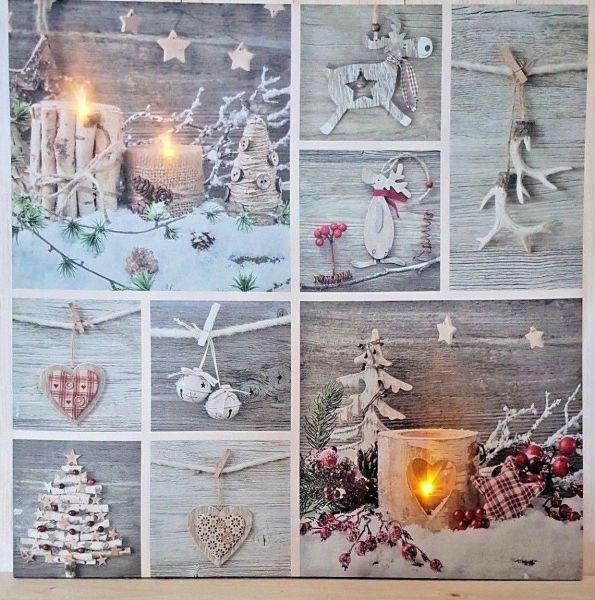 """LED Bild """" Weihnachten Natur """" 50cm x 50cm"""