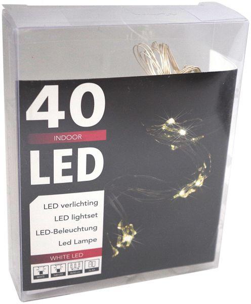 LED Lichterkette Wasserfall 40er ( 8 Stränge x 5 Leds) Micro Silberdraht batteriebetrieben kaltweiß