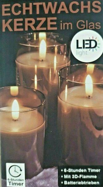 1 LED Kerze Timer im Glas Rauch Grau 12,5cm x 7,5cm