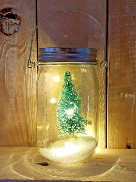 Glas mit Licht 7cm x 13cm inklusive Deko