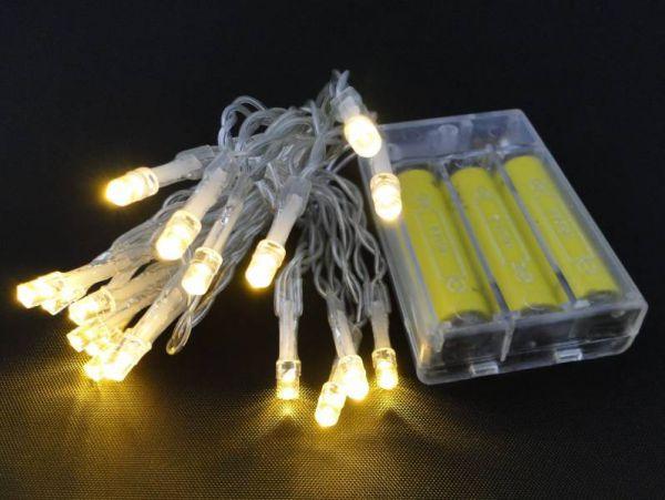 LED - Lichterkette 20 Lämpchen warmweiß - Batteriebetrieb transparentes Kabel