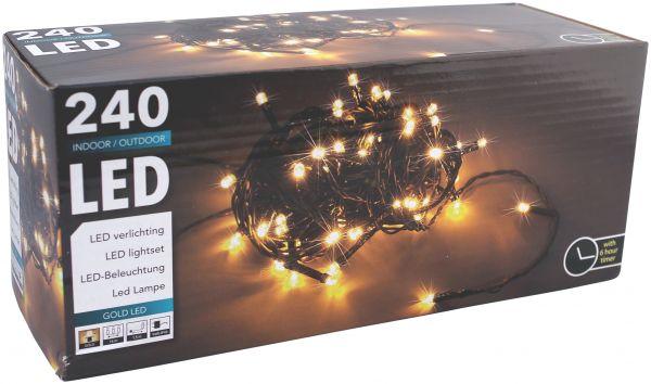 LED Strom Lichterkette 240 LEDs extra warmweiß mit 6 Stunden Timer Strom