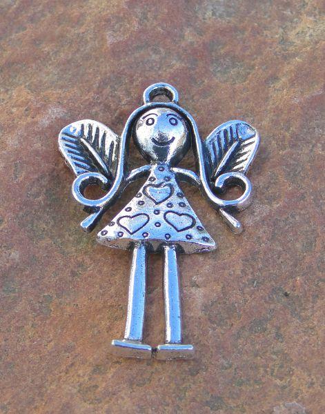 1 Schutzengel Anhänger Engel Metall silber 56mm 20099