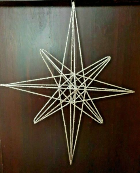 Glimmer Metallstern 32 cm 3D silber
