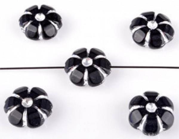 20 Perlen Kunststoff 10mm schwarz silber Blume 09072