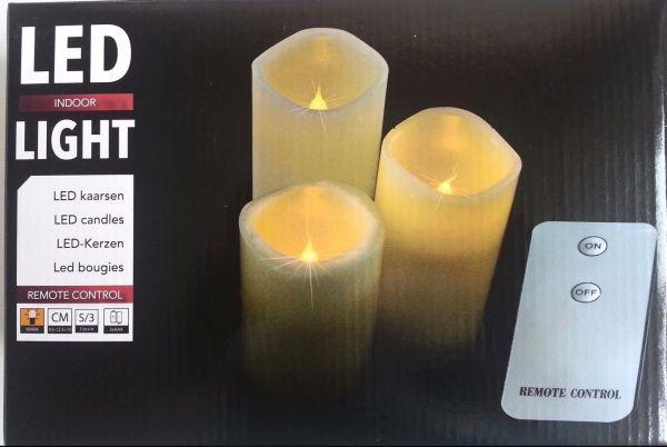 LED Kerzen 3er Set Batterie mit Fernbedienung gelblich flackernd