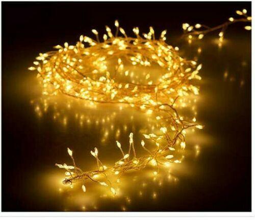 LED Cluster Lichterkette Silberdraht warmweiß 240 außen Büschel Strom