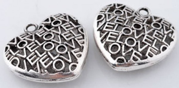 1 Anhänger Herz LOVE silber filigran Metall 35mm 10033