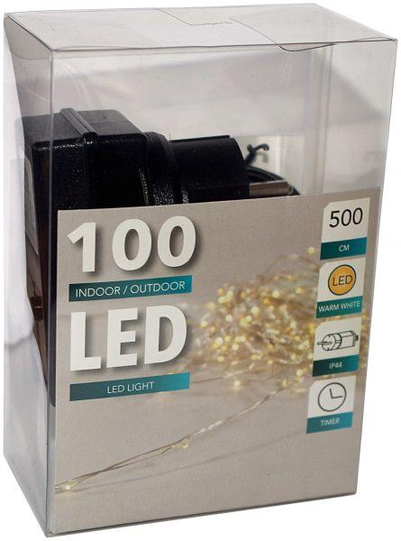 LED Draht Lichterkette warmweiß 100er Tropfen strombetrieben Timer für innen und außen